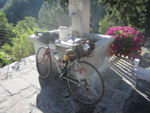 Water basin before climb of Col de la Cayolle