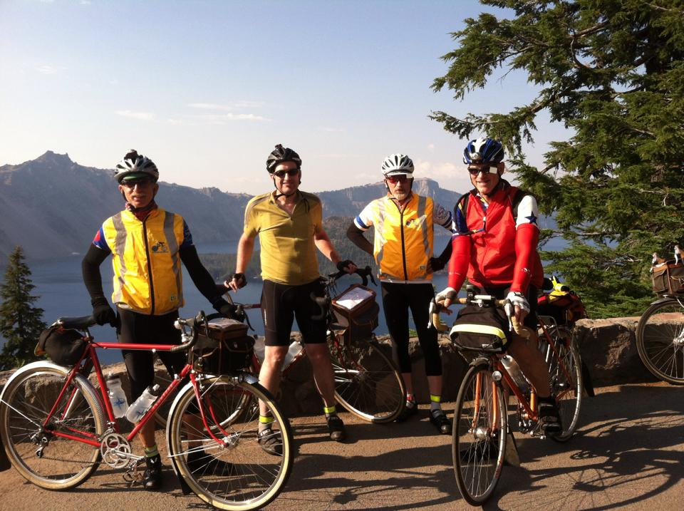 Andy,   Jeff,   Noel and Eric Peterson at Crater Lake (by Noel Howes)