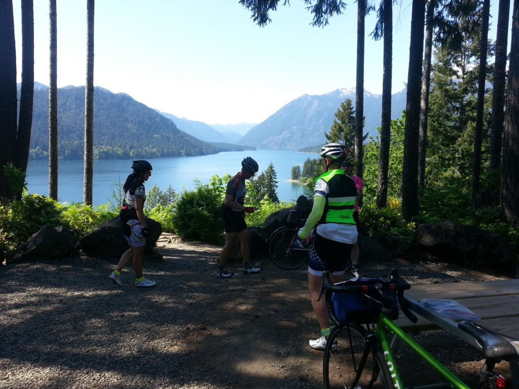 Pre-riders at Lake Cushman
